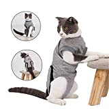 Doglemi Cat Recovery Suit Soft Collar Post Surgery with Elastic Buckle for Small Medium Cats Wounds Skin Care Indoor S