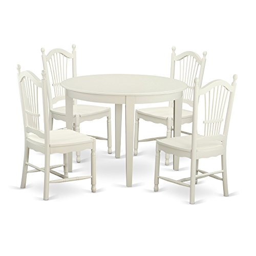 East West Furniture BODO5-WHI-W 5 Piece Table and 4 Dining Chairs Kitchen Dinette Set