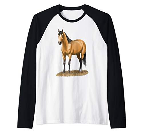 Beautiful Buckskin Dun Quarter Horse Stallion Horse Lovers Raglan Baseball Tee ()