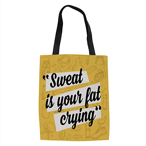 IPrint Fitness,Sweat is Your Fat Crying Funny Humorous Quote Diet Losing Weight Exercise Decorative,Yellow Black White Printed Women Shoulder Linen Tote Shopping Bag