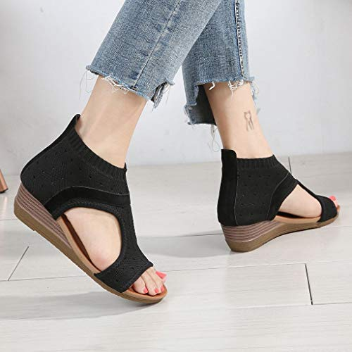 Clearance! Hot Sale! ❤ Women Ethnic Style Sandals Roman Shoes Platform Wedge Sandals Gladiator Shoes 2019 Summer Beach Platform/Wedge/High Heel Sandals Slippers for Girls Women Ladies by YEZIJIN_Women's Sandals (Image #6)