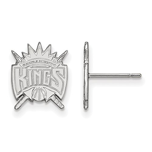 NBA Sacramento Kings Post Earrings in 10K White Gold by LogoArt