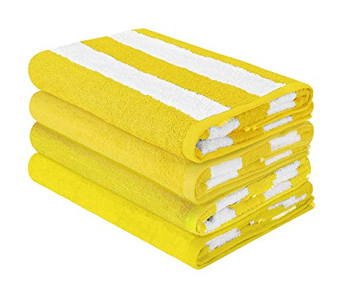(HomeLabels Luxury Premium Quality Cabana Beach Towels - Pack of 4 Cabana Stripe Pool Towels (30 x 60 Inches) Multi Purpose Towels with High Absorbency, Yellow)
