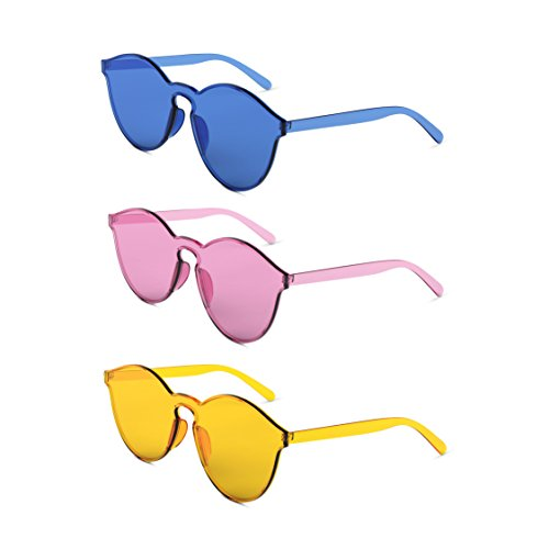 Colorful Transparent Round Super Retro Rimless Sunglasses Set With Soft Cases- Kurt Cobain Oval in Yellow, Pink, Blue (Transparent Frame Plastic)