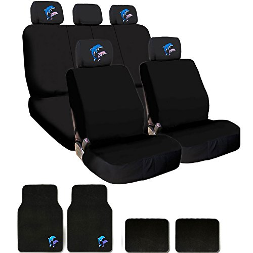 Yupbizauto New Brand Universal Size Flat Black Cloth Car Seat Covers Floor Mats Full Set with 4 Embroidery Dolphin Logo Headrest Covers (Toyota Dolphin)
