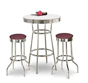 Chrome Bar Table & 2 Chrome Burgundy Vinyl Seat Barstools