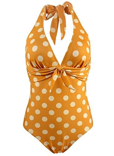 (Balasami Women's Halter V Neck Tropical Lemon Polka Dots Printed Vintage One Piece Bow Tie High Leg Swimsuits)