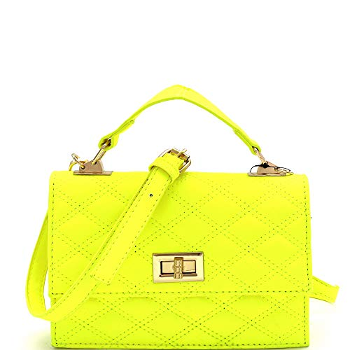 Mini Top-Handle Retro Box Flap PU Leather Satchel Crossbody Neon (Quilted Top-Handle - Neon-Yellow)