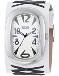 EOS New York Unisex 33BBLKWHT Voo Doo Detailed Leather Strap Watch