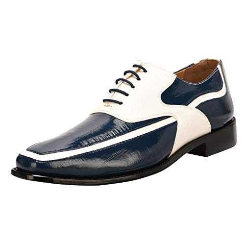 Liberty Men's Crocodile/EEL Print PU Synthetic Leather Oxford Lace up Dress Shoes Navy/White
