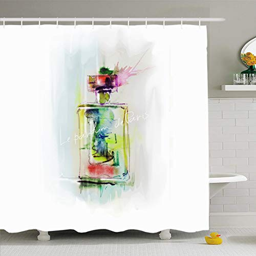 Ahawoso Shower Curtain 60x72 Inches Watercolor Perfume Bottle Painting Care Paris Spray Aftershave Waterproof Polyester Fabric Bathroom Curtains Set with Hooks