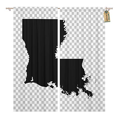 Golee Window Curtain State Louisiana Map Black Abstract America American Baton Rouge Home Decor Rod Pocket Drapes 2 Panels Curtain 104 x 63 inches