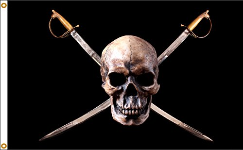 (Pirate 3ftx5ft Nylon Jolly Roger Flag 3x5 Made In USA 3'x5' )