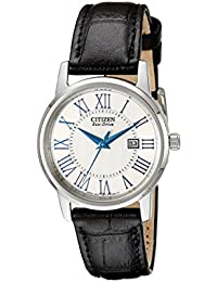 Women's EW1568-04A Eco-Drive Stainless Steel Watch with Black Genuine Leather Band
