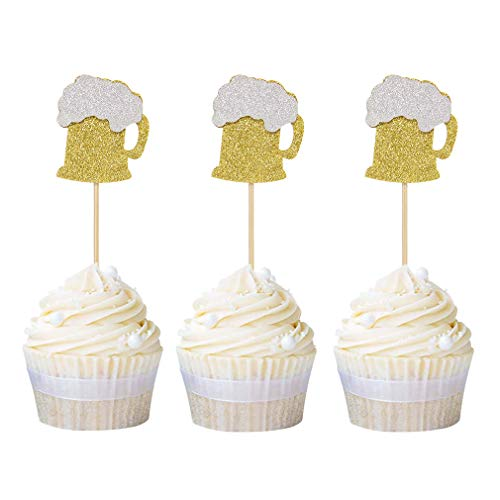 Newqueen 24 Pack Beer Mug Cupcake Toppers Gold Glitter Cupcake Picks Wine Hawaii Theme Wedding Birthday Party Decoration
