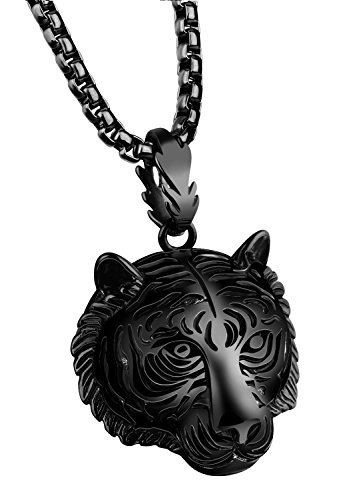 - PAMTIER Men's Stainless Steel Solid Tiger Head Pendant Chain Necklace Black