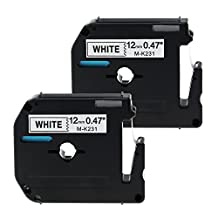 2 Pack Compatible for Brother P-touch Label Tape M-K231 MK231 Black on White PTM95, PT100, PT110