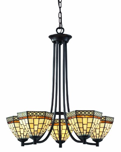 Z-lite Prairie Garden (Z-Lite Z35-5 Prairie Garden Five Light Chandelier, Metal Frame, Chestnut Bronze Finish and Multi Color Tiffany Shade of Glass)