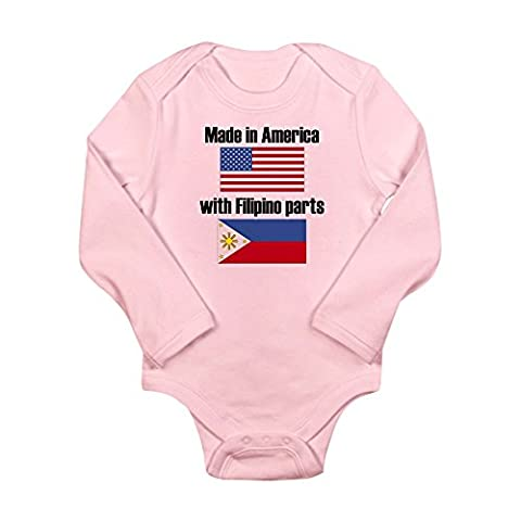 CafePress - Made In America With Filipino Parts Body Suit - Cute Long Sleeve Infant Bodysuit Baby (Infant Filipino)