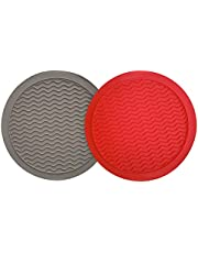 "2 Pieces - 12"" Large Silicone Trivets Mat - Heat Resistant Non-Slip Multi Purpose Mats For Pot Holders, Microwave Matt, Placemat, Utensil Bowl Rest, Splatter Guard, Drying Mat, Jar Opener, Pot Grabs (Black, Red)"
