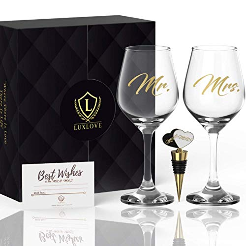 LUXURY MR & MRS WINE GLASS SET FOR COUPLES- Best Engagement Gifts for Her, Bride & Groom, Bridal Shower, Anniversary, Newlyweds, Wedding & Married Couple- FREE Wine Stopper, Pairing Guide & Gift Card