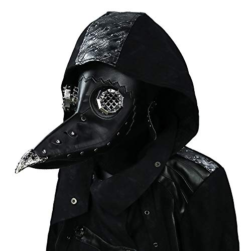Steel Master Gothic Masquerade Mask with Goggles Gothic Punk Revit Leather Mask Full Head Cosplay Long Nose