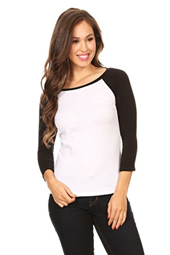 Boatneck Raglan Tee - Vialumi Women's Boat Neck Long Sleeve Raglan Tee Shirt Black Small