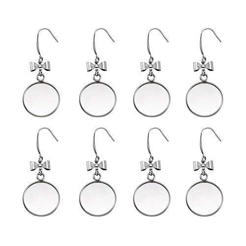 (Craftdady 10pcs 316 Stainless Steel Dangle Blank Trays Settings 57x22mm Bowknot Fish Earring Hook with Flat Round Bezel Cabochon Pendant for DIY Earring Jewelry Making)