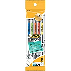 BIC Pencil Xtra Precision (Clear Barrels), Fine Point (0.5 mm), 5-Count