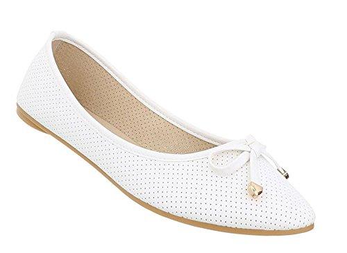 Schuhcity24 Damen Schuhe Ballerinas Pumps Weiß