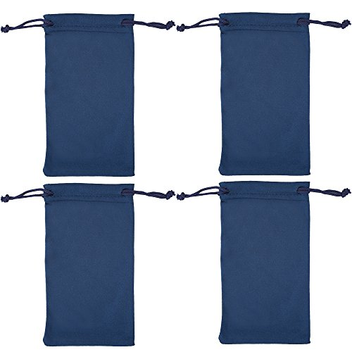 Microfiber Eyeglass Pouch -4 Pack- Glasses Holder Sunglasses case, For Storage & Cleaning - Can be Used for Jewelry & Smartphones -Navy- By - Used Sunglasses Be As Can Eyeglasses