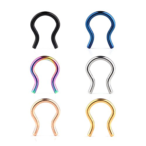 Ruifan 6PCS 316L Surgical Steel U-Shaped & Staple Nose Septum Hanger Retainer Nose Ring 16g (Mix Colors ()