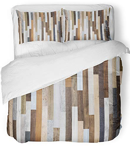 (Emvency 3 Piece Duvet Cover Set Breathable Brushed Microfiber Fabric Pallet Wood Colorful Planks Rustic Abstract Aged Beautiful Beech Board Candy Bedding Set with 2 Pillow Covers Full/Queen Size)
