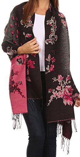 Sakkas CHS1810 - Ontario double layer floral Pashmina/ Shawl/ Wrap/ Stole with fringe - 1-Black - OS