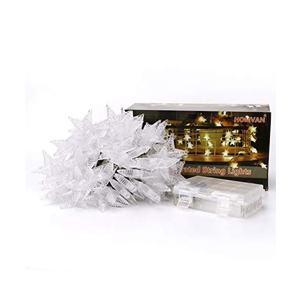 HOMVAN Catene Luminose 50 Stelle 7.5M Batteria Alimentata LED Luci Illuminazione Decorativa Ideale per Albero di Natale Halloween Matrimonio Decorazione della stanza Party Giardino(bianco caldo) 7 spesavip