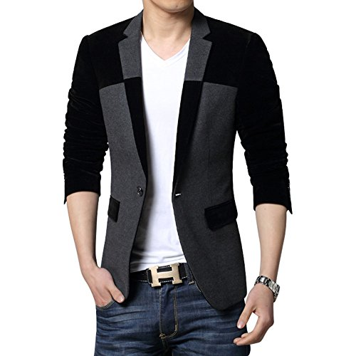 MOGU Men's 1 Button Center Vent Wool Blend Blazer Jacket US Size 42(Tag Asian Size 5XL) ()