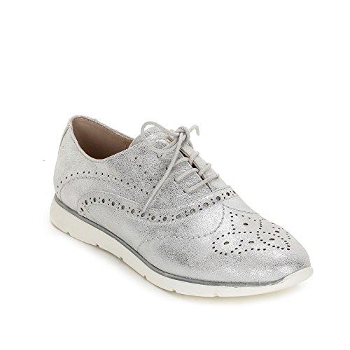 OBSEL Scarpe Argento Planos Zapatos Zapatos trabajada acordonados amp;Scarpe Punta by con 5rwSU5