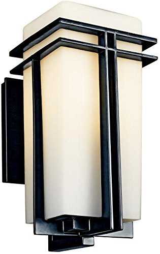 - Kichler 49200BKFL, Tremillo Aluminum Outdoor Wall Sconce Light, 13 Watts Fluorescent, Black
