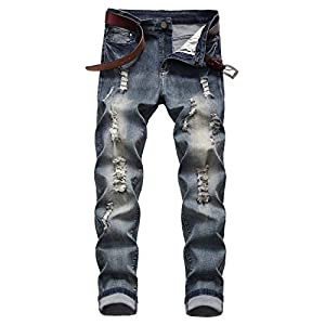 Men's Distressed Stretch Skinny  Jeans Casual Denim Pants