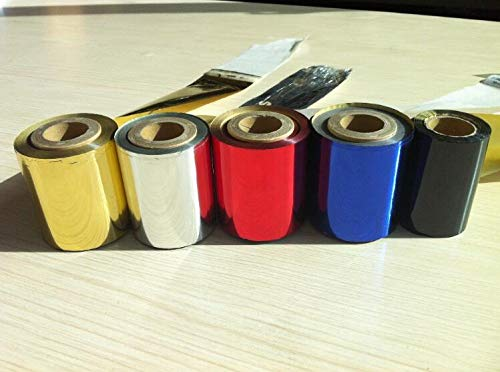 welljoin 2 Rolls Hot Foil Stamping Paper Hot Pressing Transfer Anodized Gilded Paper Hot Foil Paper roll
