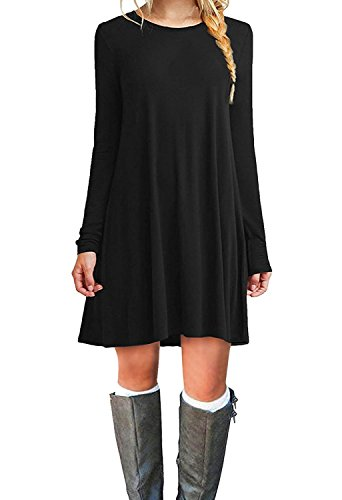 Long Womens Dress Sleeve Flowy Long Loose T-shirt Dress(Black,Medium)