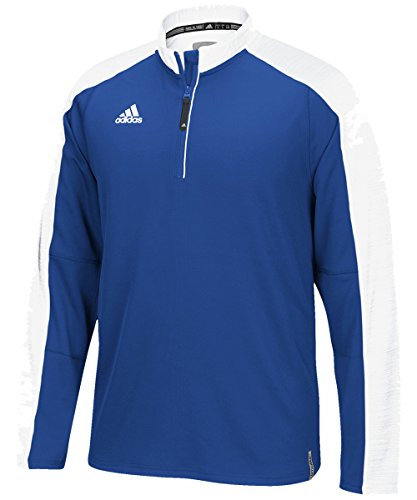 (adidas Men's Climalite Modern Varsity Long Sleeve 1/4 Zip - Collegiate Royal/White - Small)
