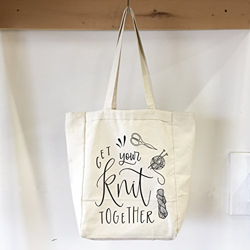 Get Your Knit Together Canvas Tote Bag Gift for Knitter