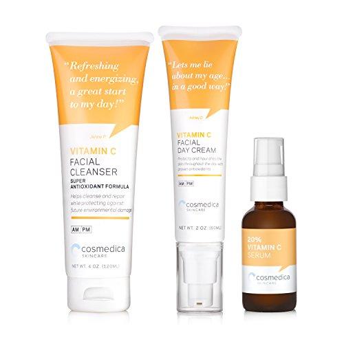 Super Vitamin C Kit - Vitamin C Serum 20%, Vitamin C Facial Cleanser, Vitamin C Moisturizer (Aqua Vitamin C Cleanser)