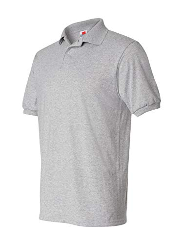 (Hanes Men's Cotton-Blend EcoSmart Jersey Polo, Light Steel, Medium)