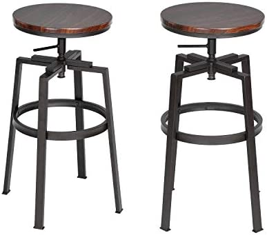 Barstools Set of 2 Counter Height Swivel Bar Chair Round Wood Seat with Metal Legs,Industrial Style,Walnut