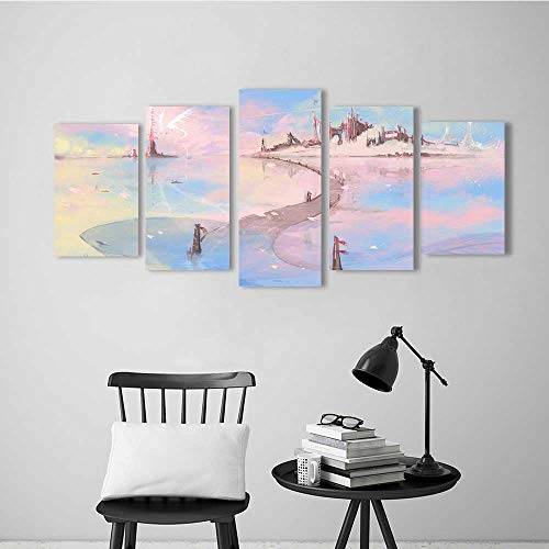 5 Pieces Modern Wall Art Decor Frameless Magic Castle Water Road for Home Print Decor for Living Room