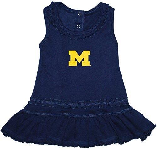 - Creative Knitwear University of Michigan Wolverines Block M Ruffled Tank Top Dress with Bloomer Set Navy 0-3 Months