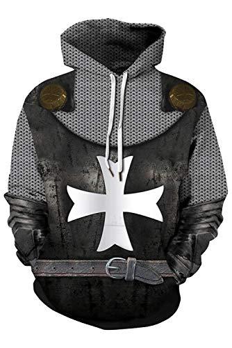 Mens Knight Templar Hoodie Shirts Sweatshirt Armor Crusader Cross Medieval Cosplay Costume Black]()