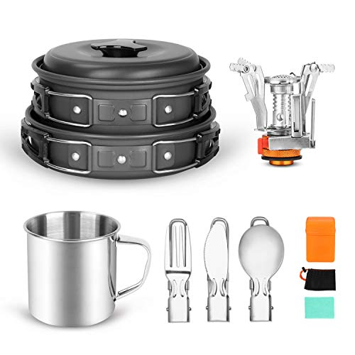 Odoland 10 pcs Camping Cookware Mess Kit